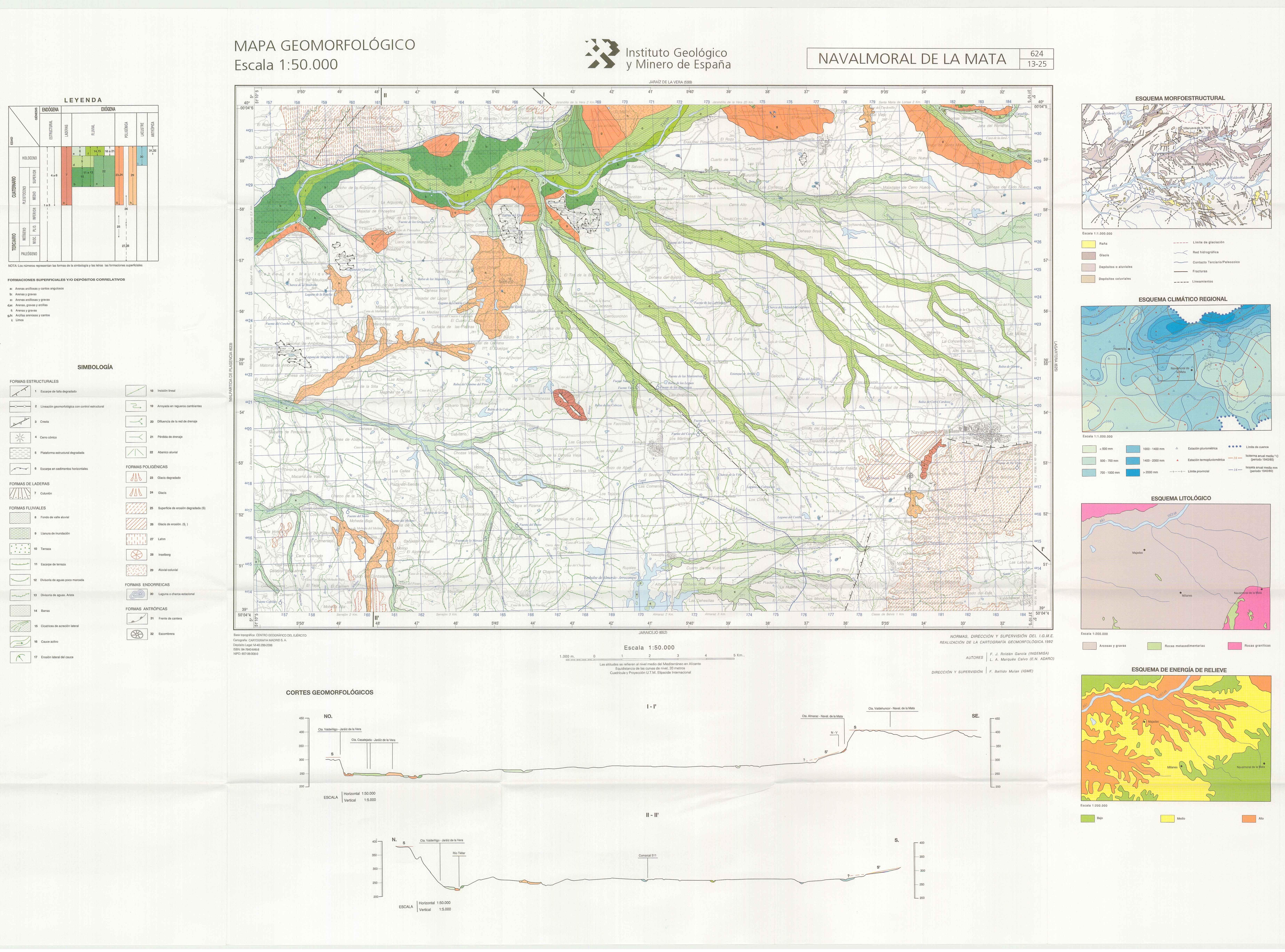 Mapa Geomorfologico E 1 50 000 Hoja 624 Navalmoral De La Mata
