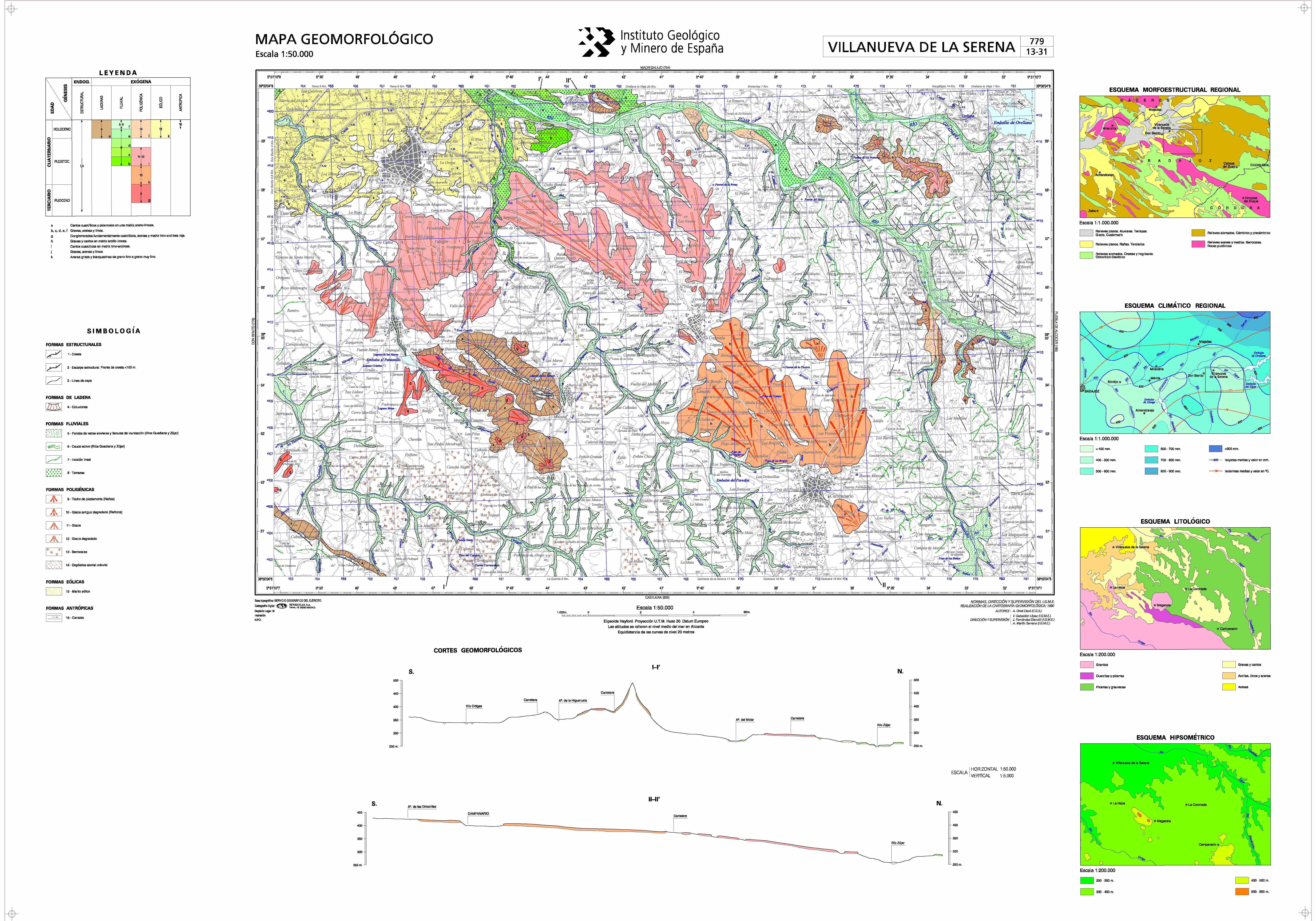 Mapa Geomorfologico E 1 50 000 Hoja 779 Villanueva De La