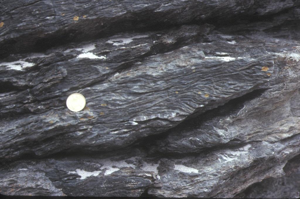 Filonitas y estructuras S-C en base del manto de Mondoñedo en extremo SE de playa de Areoura. Las superficies C (zonas de cizalla) buzan unos 30º al este (a la izquierda) y entre ellas se ven las superficies S (esquistosidad) con geometría sigmoidal