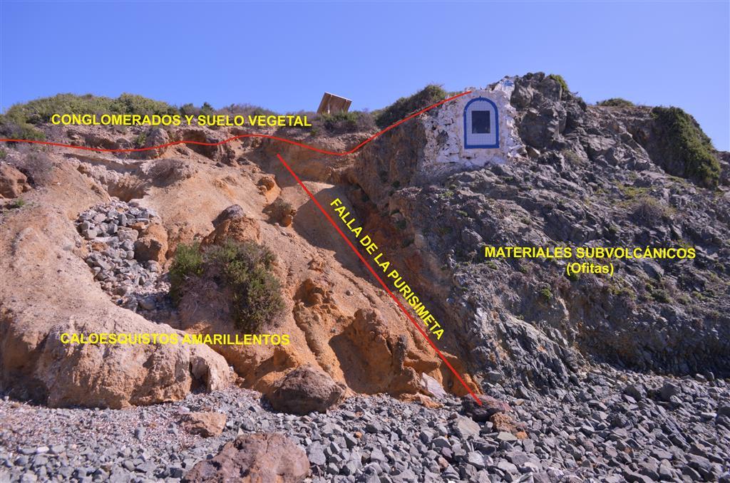 Imagen parcial del tramo superior de la sección estratigráfica de la Sala de la Mina de la Cueva de Nerja, niveles NM 12 a NM 1 (foto Jesús F. Jordá Pardo)