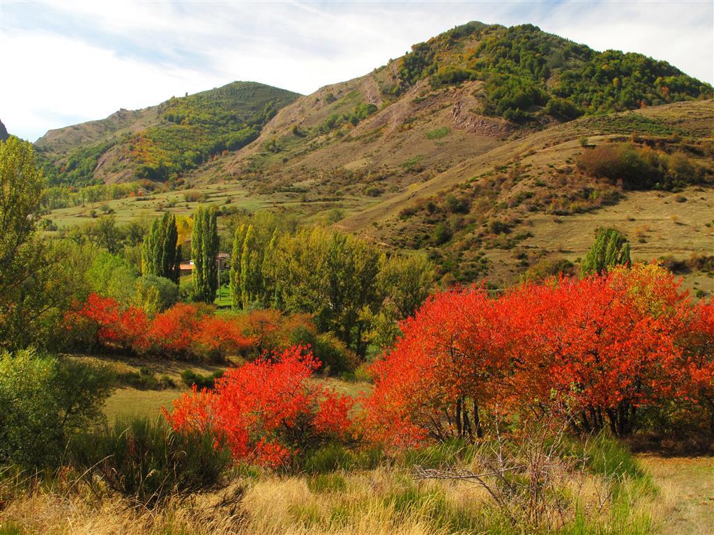 Panorámica del valle de Primajas (nótese parte del caserío de esta localidad en la parte central de la imagen). En las laderas del fondo afloran las rocas que permiten observar el dúplex de Primajas.