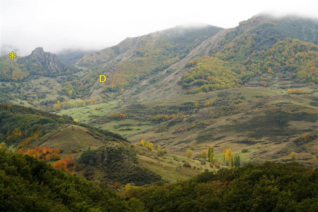 Panorámica del valle de Primajas desde la Collada de Viego. Se indica la posición de la Collada de las Camperas (*), desde donde se obtiene una buena vista panorámica de la ladera en la que aflora el dúplex de Primajas (D).