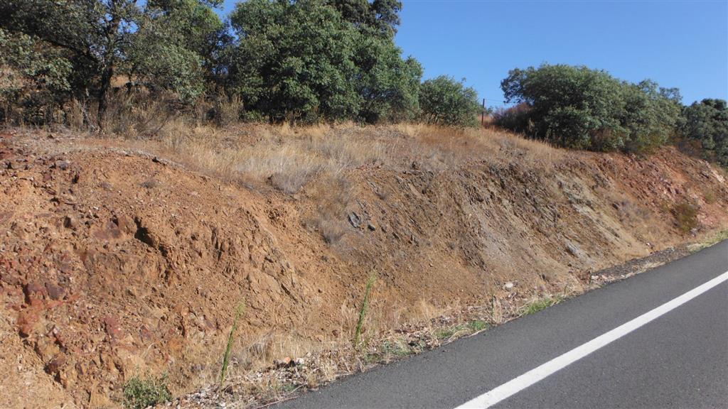 Vista del talud de la carretera en las proximidades de las labores de la foto anterior, donde se aprecian, en los extremos derecho e izquierdo de la foto (colores pardo-rojizos), dos potentes intercalaciones de rocas subvolcánicas de composición intermadia-ácida.