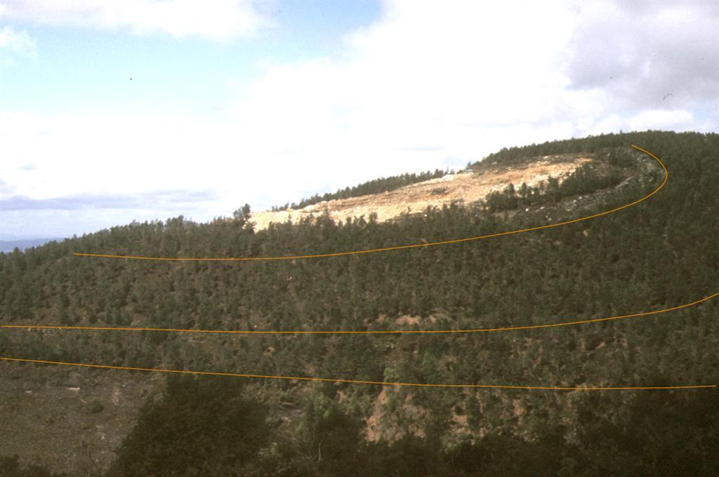 Charnela Anticlinal del Piornal visto desde pista 400m N de Busto. Repoblación forestal y cantera han estropeado la panorámica, magnífica cuando Matte (1968) hizo la foto de su Fig. 30. Líneas color marcan sup.de estratificación. N Dcha