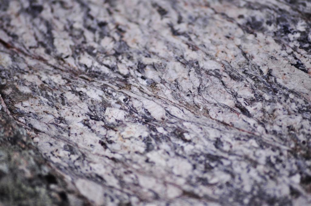 Afloramiento 1 (principal): Detalle de las estructuras miloníticas S-C sobre granitos pulidos.