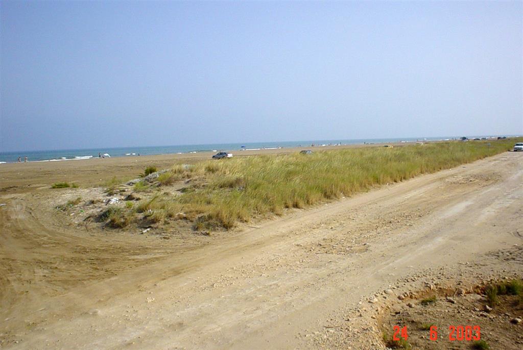 Uso turístico no controlado de la playa de Trabucador. Puede apreciarse en primer término un incipiente cordón dunar cortado por la vía de acceso a las salinas de La Banya.
