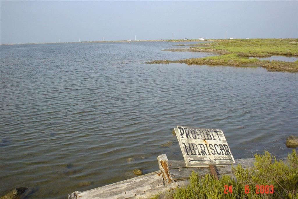 Restos de antiguas instalaciones pesqueras y salineras erosionadas e inundadas por el mar en la costa norte de la Isla de San Antonio.
