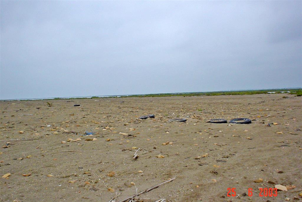 Llanura arenosa costera, al norte de la isla de San Antonio. La llanura corresponde a un antiguo abanico de desbordamiento generado por fuertes oleajes de tramontana. Obsérvese el déficit general de arena y la ausencia de cordones dunares.