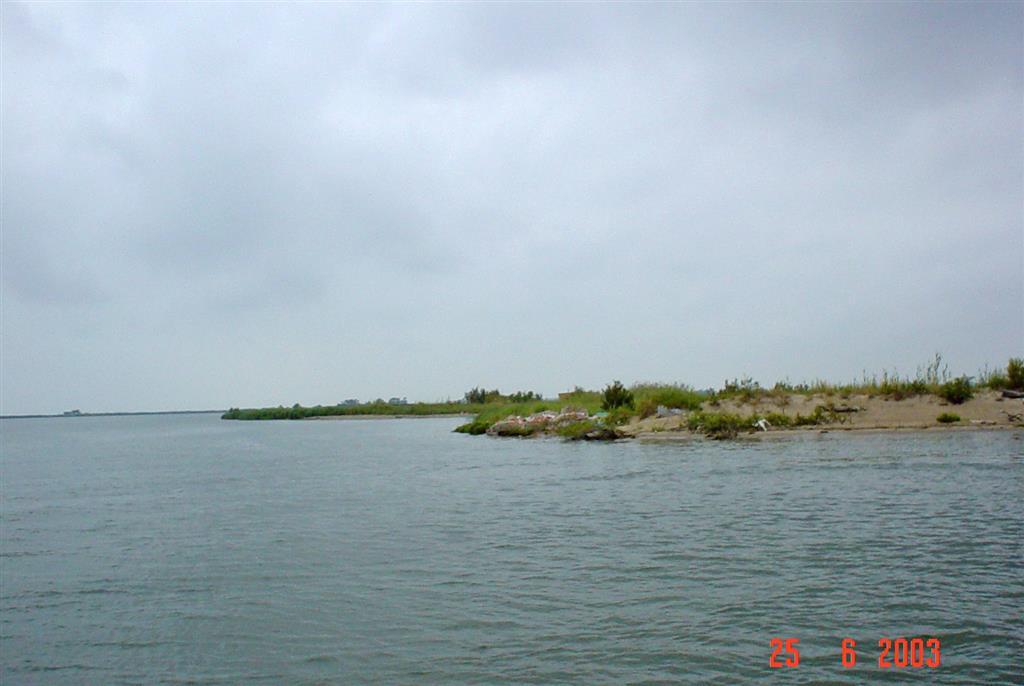 Imagen de orilla oriental del río Ebro, correspondiente a margen occidental de Isla San Antonio. Se aprecia marcado escarpe vertical labrado sobre depósitos limoarenosos deltaicos, que muestra el retroceso costero que sufre esta zona del delta.