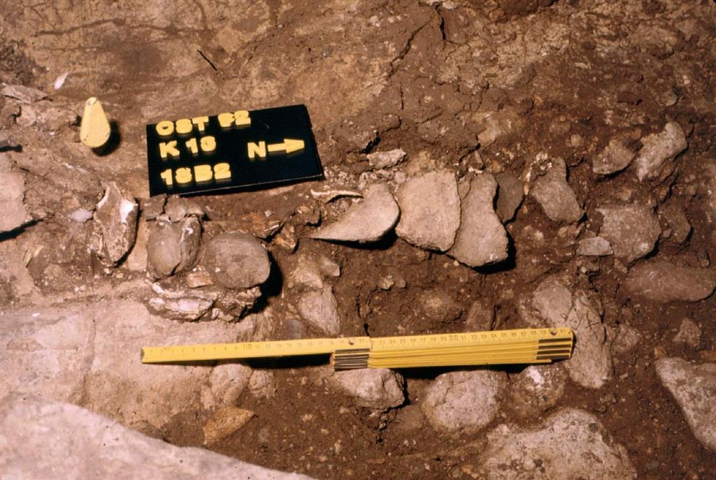 Detalle de la excavación del nivel 18 de El Castillo durante la campaña de 1992 (foto Federico Bernaldo de Quirós)