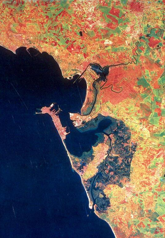 Imagen de satélite con falso color de la Bahía de Cádiz. Se observan en colores oscuros las zonas ocupadas por marismas y humedales costeros, y en colores claros los cordones arenosos que las encierran.