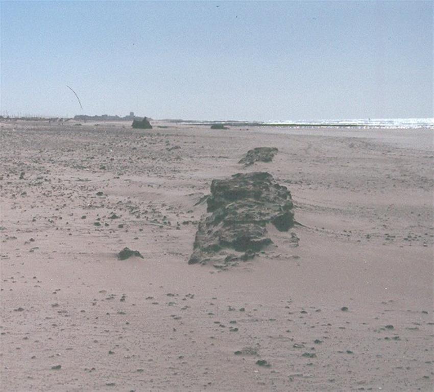 Restos de calzada romana que unía templo de Hércules con Gañir (Cádiz). La calzada se ubicaba detrás del cordón dunar de playa Santibáñez. Actualmente los restos aparecen en zona intermareal, reflejando retroceso costero mayor de 300 metros en 2000 años