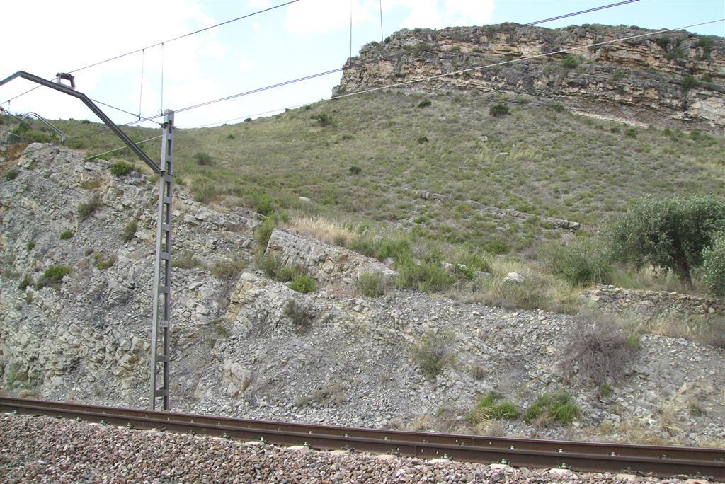 Fin de la sección Toarciense-Aaleniense en la trinchera del ferrocarril de Ricla (sección del Juncal). Los escarpes de la parte superior corresponden al Jurásico Medio (Fm. Chelva).