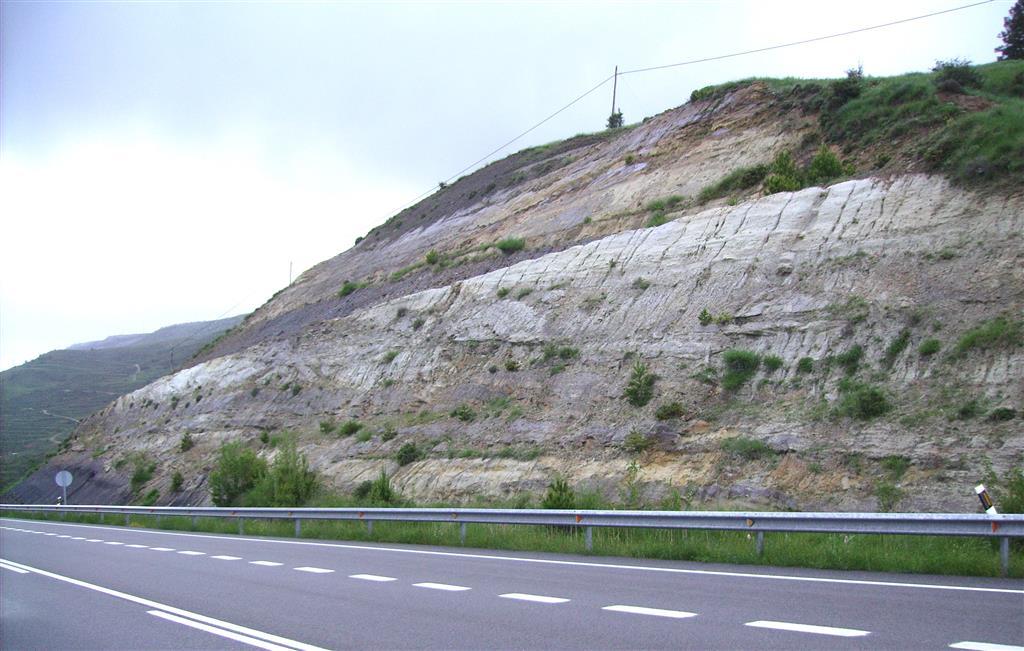 Secuencias características de la Fm Arenas de Utrillas. Limolitas carbonosas y arenas silíceas con estratificación cruzada de surco. Puerto de San Just.