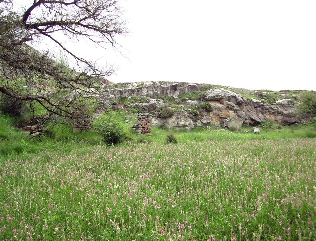 Cuerpos arenosos  intercalados en la Fm Arcillas de Morella, en las proximidades del río Blanco, Allepuz.