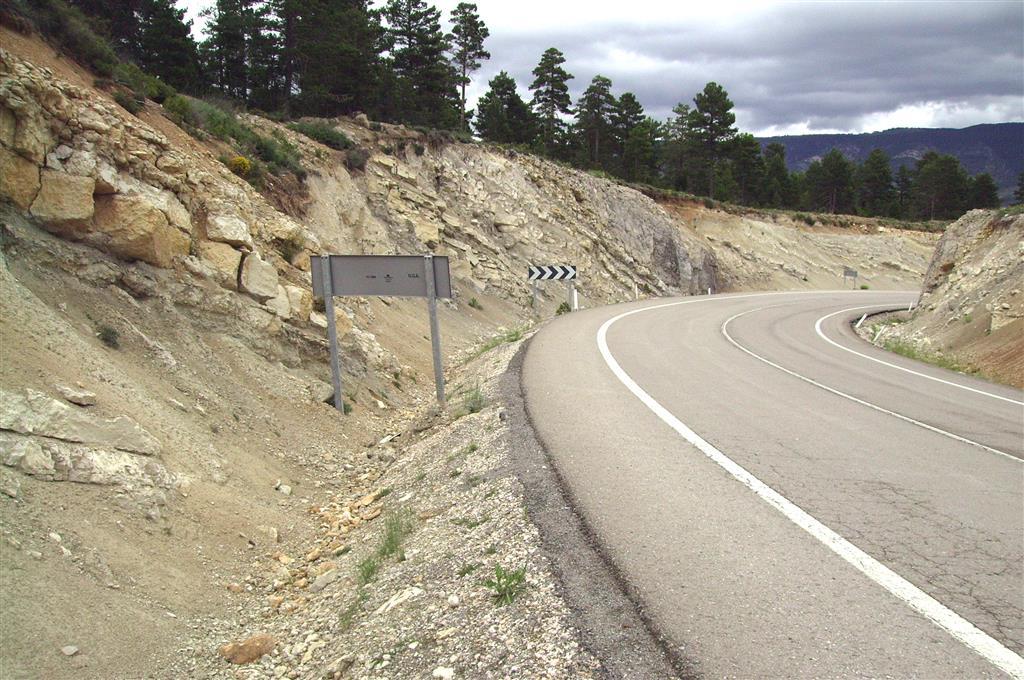 Tránsito de la Fm Calizas de la Cañadilla a la Fm Calizas de Fortanete (Campaniense). Paraje de la curva de la Cuesta de Villarroya. A-226. (Fortanete).