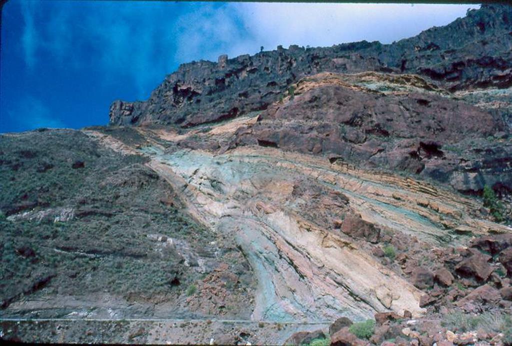 Alteraciones hidrotermales (azulejos) en la parte occidental de la Caldera