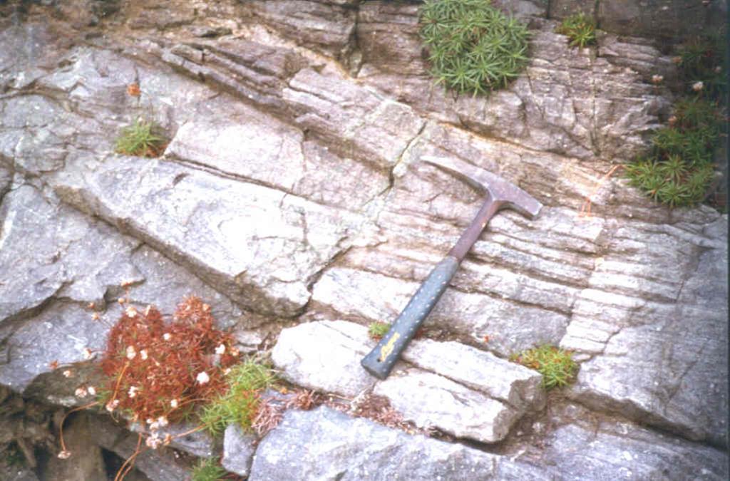 Detalle de los pliegues en las granulitas de Candelaria.