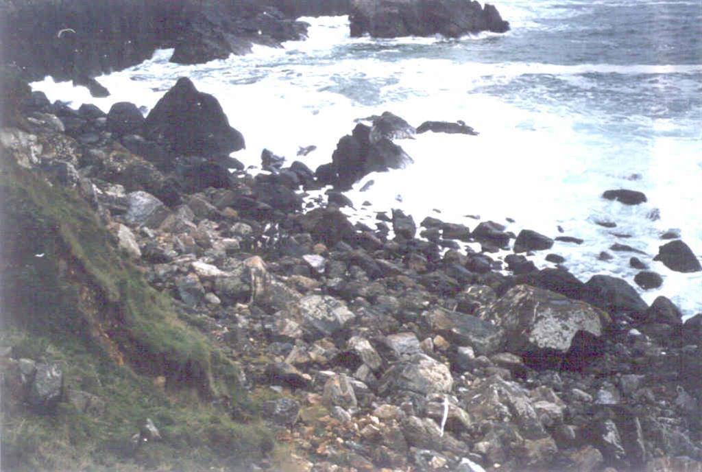 Acumulación de bloques en la base del deslizamiento.