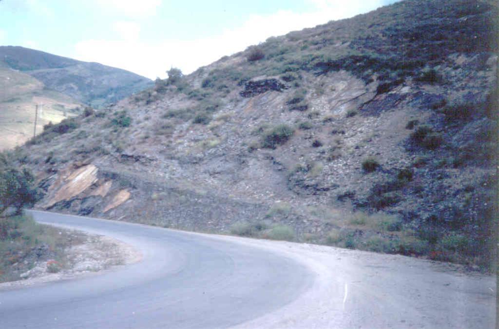 El yacimiento se localiza en una plancha de pizarras que yace sobre unas ampelitas (foto tomada en 1983)