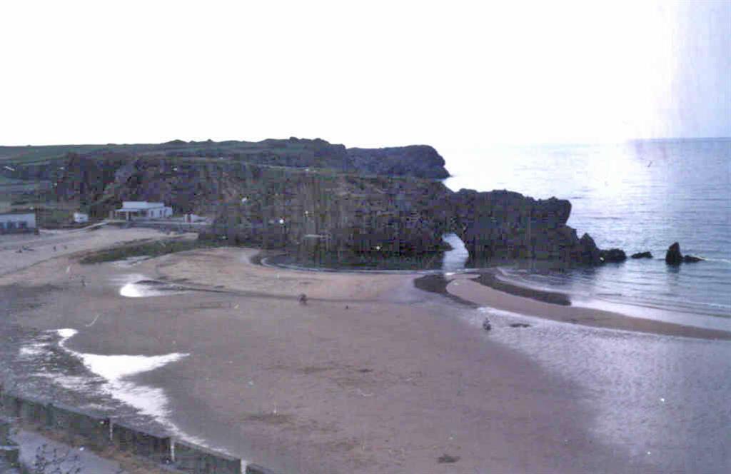 """Oeste de la playa de San Antolín. Rasa sobre las calizas y erosión marina en los carbonatos de la """"Caliza de Montaña""""."""