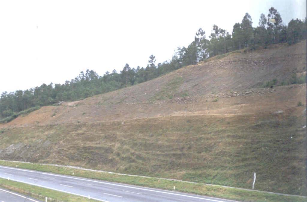 La estabilidad del talud se ha logrado mediante dos factores: rebajando el ángulo de inclinación y comprimiendo el terreno mediante cables de anclaje.