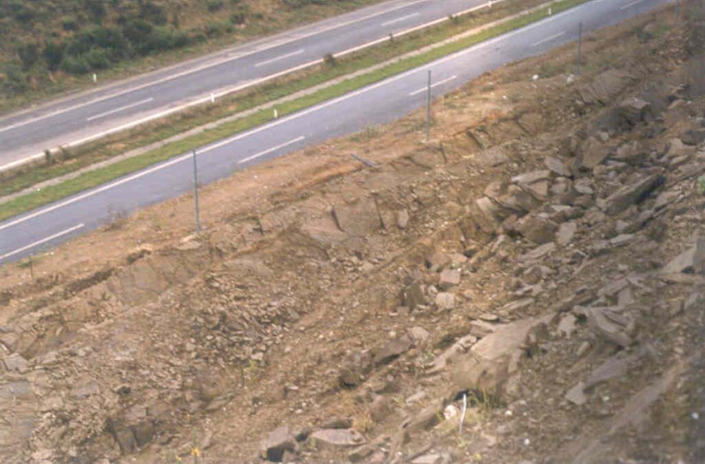 Esquistos de Órdenes. La foto está tomada desde la parte superior del talud estabilizado con cables de anclaje.