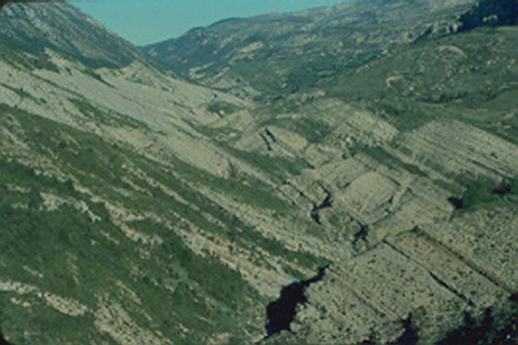 Vilanoveta d'Aramunt-río de Carreu (serrat de les Comelletes). Serie del Cretácico superior a la altura de Collades de Basturs en el flanco N del anticlinal