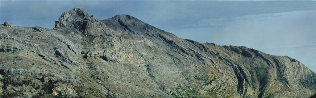 Panorámica del pliegue sinclinal de la Sierra del Peñón. La sucesión que aflora en el pliegue está formada por calizas con rudistas del Albiense superior (Formación Jumilla) y Calizas con grandes orbitolinas planas y calcisferas del Cenomaniense (Formació