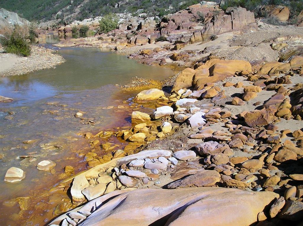 Detalle de depositos de diversos sulfatos eflorescentes consecuencia de la concentración de las aguas.