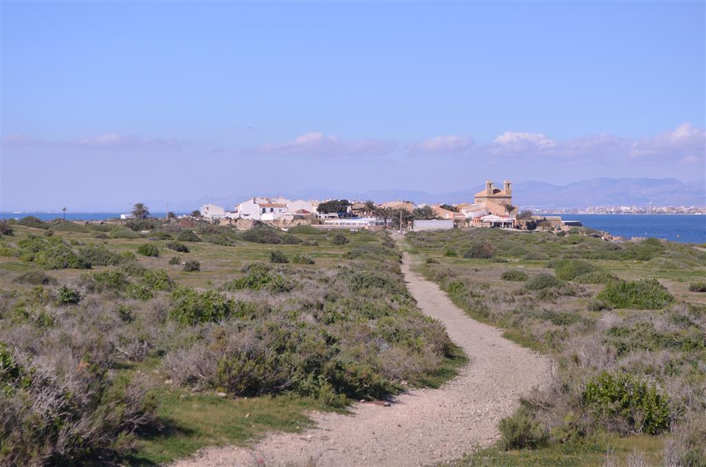 Vista de la morfología llana de la isla. Al fondo la zona habitada (extremo occidental de la isla) pueblo de San Pedro y San Pablo