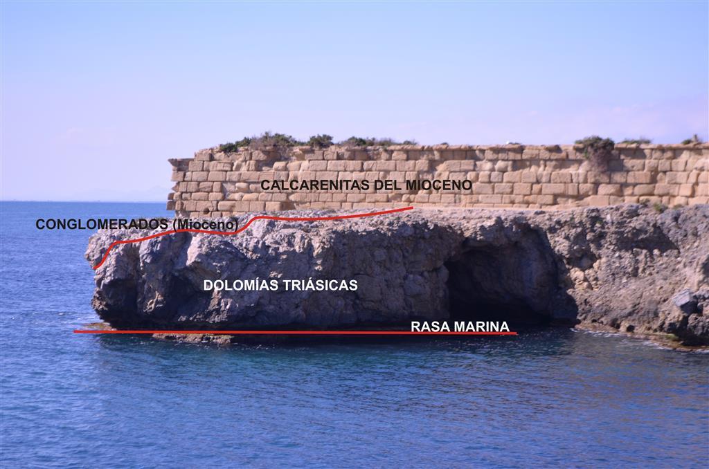 Sector occidental de la isla. Fortificación construida con calcarenitas sobre dolomías triásicas y conglomerados miocenos.