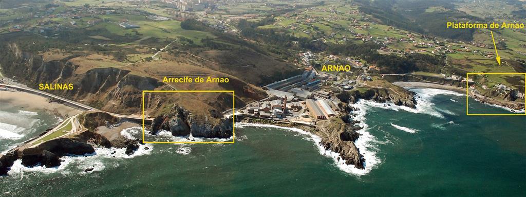 Vista desde el aire de los dos LIGs que se han diferenciado: Plataforma de Arnao (CA003) y Arrecife de Arnao (CA003b)