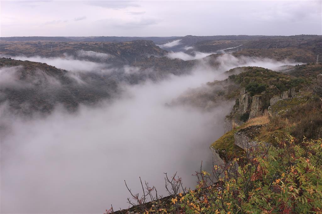 El cañón del río Tormes cubierto por la niebla en su confluencia con el río Duero (cerca de Villarino de los Aires). En el horizonte, la penillanura zamorano-salmantina.
