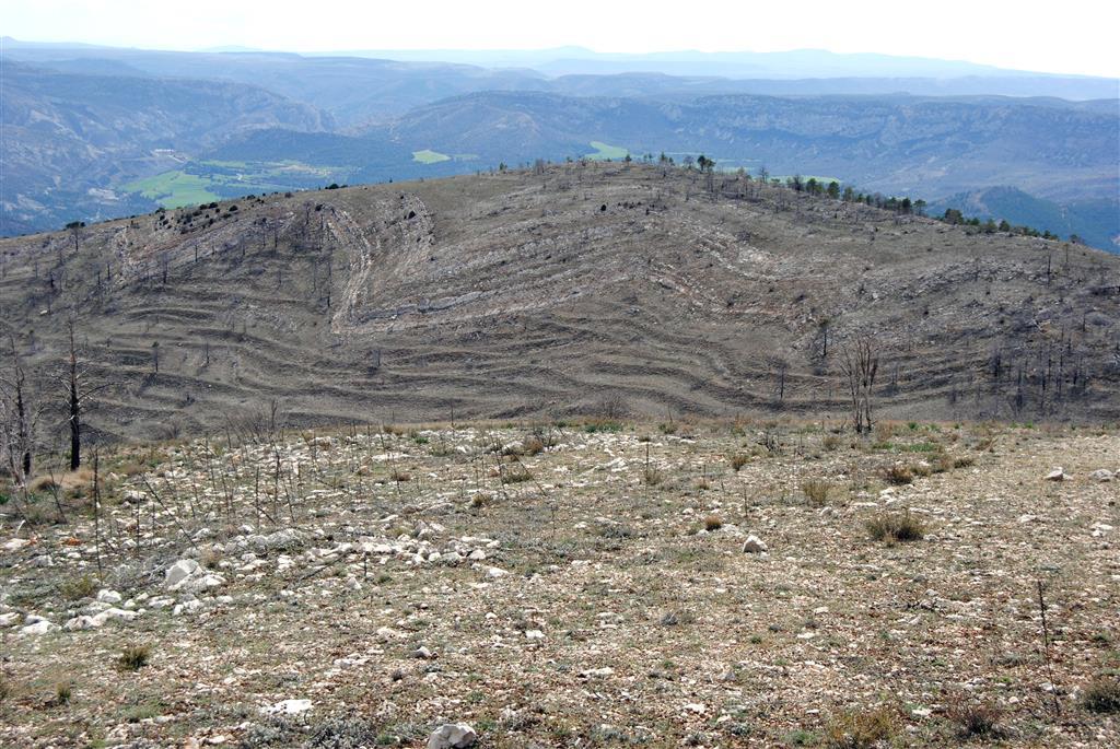 Flanco suroccidental el anticlinal de La Cañadilla, plegado por la superposición de plegamientos