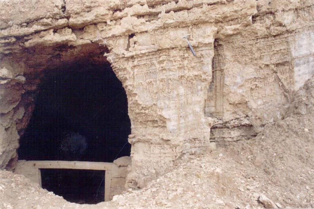 Mina de Torres de Berellén. Bocamina y nivel de halita.