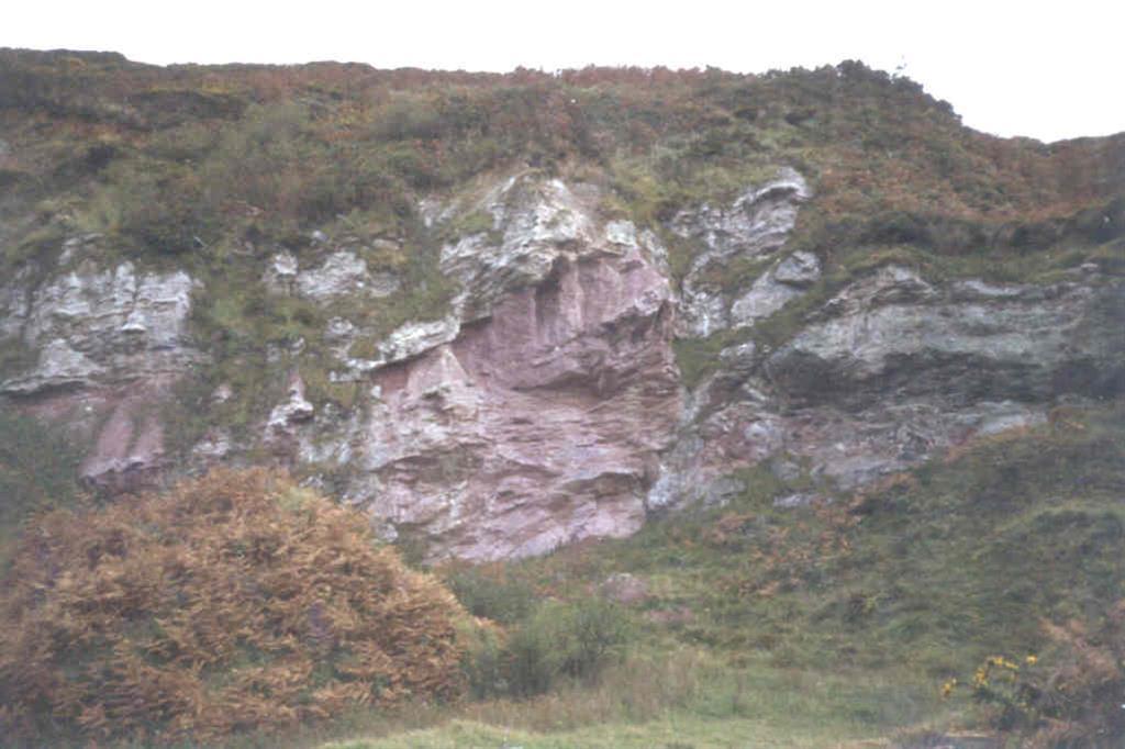 El Trías (yesos rojos) intruye en materiales más modernos, atribuidos al Wealdense (blanco).