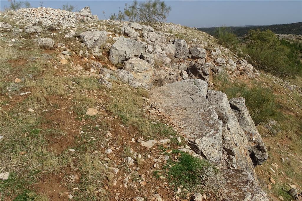 El afloramiento de dolomías tableadas en la cumbre del cerro, correlacionables con la Fm Imón, marca el techo de la Facies Keuper y da paso a la sucesión carbonatada jurásica