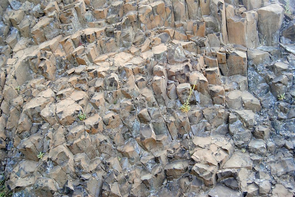 Detalle de la disyunción columnar de las lamproitas del domo central del volcán de Calasparra. Foto Á. García Cortés, 2016