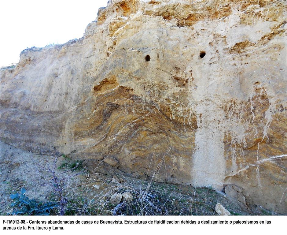 Canteras abandonadas de casas de Buenavista. Estructuras de fluidificación debidas a deslizamientos o paleosismos en las arenas de Fm. Ituero y  Lama