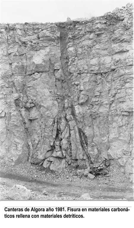 Canteras de algora, año 1981. Fisura en materiales carbonáticos rellena con materiales detríticos.