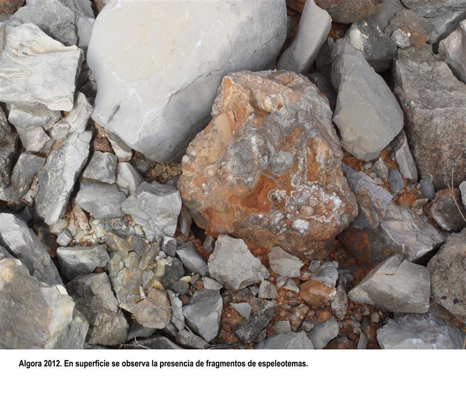 Algora 2012. En superficie se observa la presencia de fragmentos de espeleotemas.